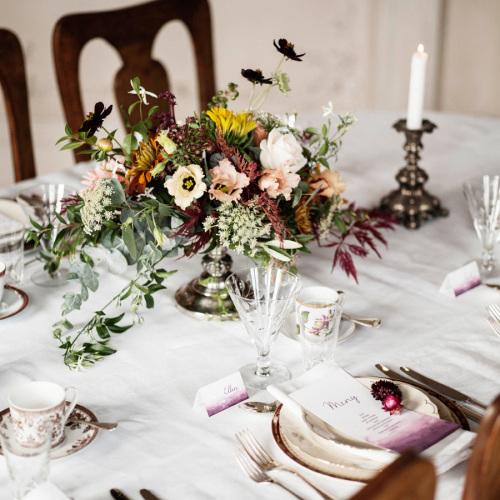 dukning för bröllop på villa överås