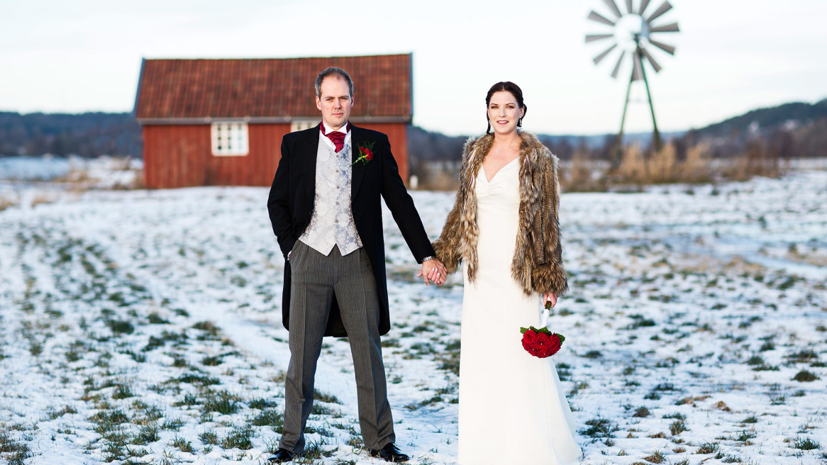 brudpar Thorskogs slott snö vinter