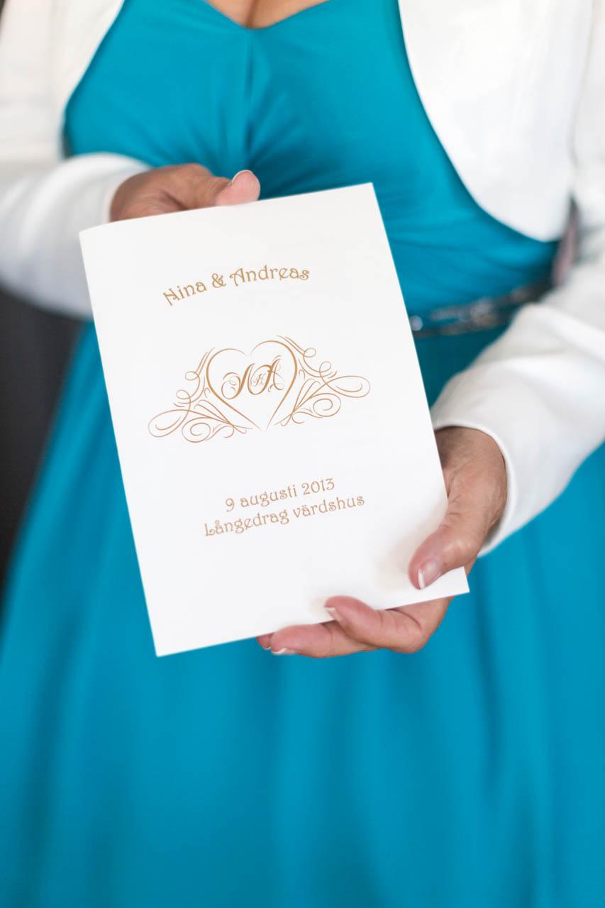Vigselprogram bröllop på Långedragsvärdshus